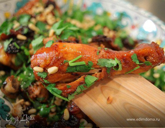 Куриные окорочка с вишней и кедровыми орехами