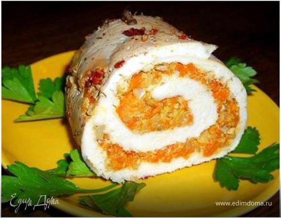 Мясной рулет с начинкой из тыквы