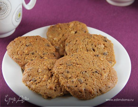 Хрустящие кофейные печенья с шоколадом и грецкими орехами