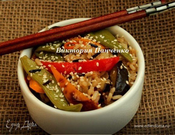 Стир фрай с овощами и рисом