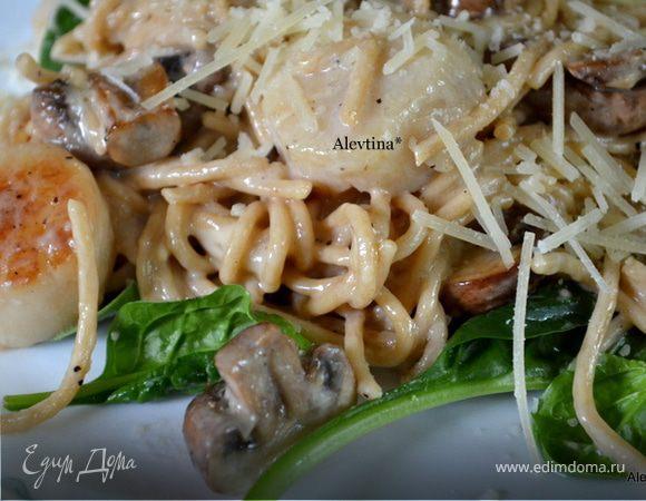 Гребешки с грибами и шпинатом
