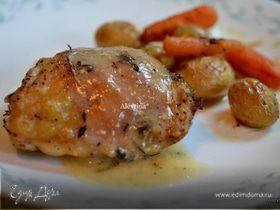 Курица с овощами в горчично-винном соусе