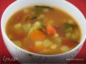Легкий суп из летних овощей с рисом