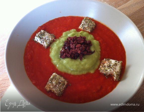 Греческий холодный суп-пюре с маслинами