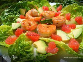 Салат с карамелизированными креветками