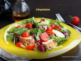 Легкий салат из курицы и черри под апельсиновым соусом