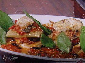 Рыбная лазанья с оливками