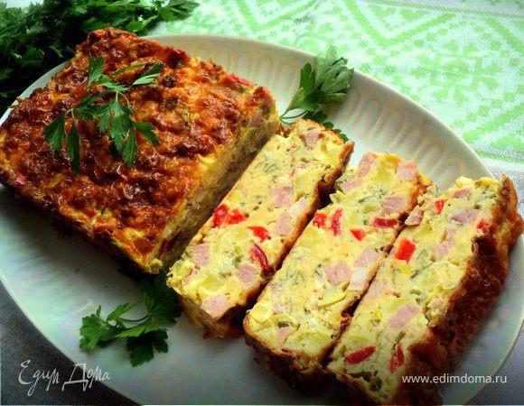 Закусочный кекс с овощами и ветчиной
