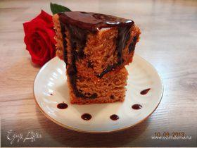 Кофейный пирог с черносливом (без масла и яиц)
