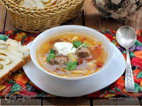 Итальянский суп с фрикадельками и вялеными помидорами