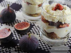 Мусс из белого шоколада с инжиром и песочным печеньем