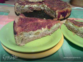 Пирог с виноградом и козьим сыром