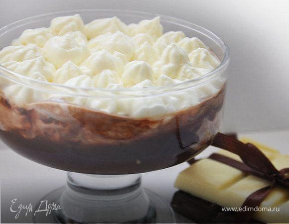 Десерт с шоколадом и взбитыми сливками