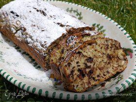 Банановый хлеб с шоколадом и орехами