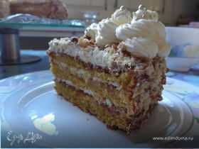 Воздушный миндально-тыквенный торт