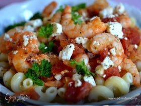 Паста с креветками, томатами и фетой