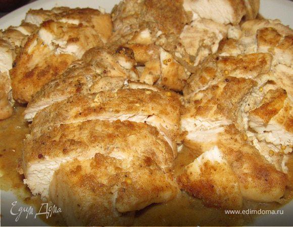 Курица с горчицей в белом винном соусе
