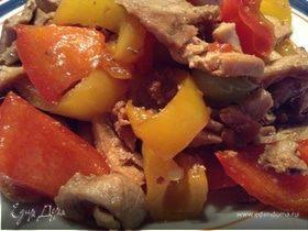 Жареное мясо со сладким перцем по-китайски