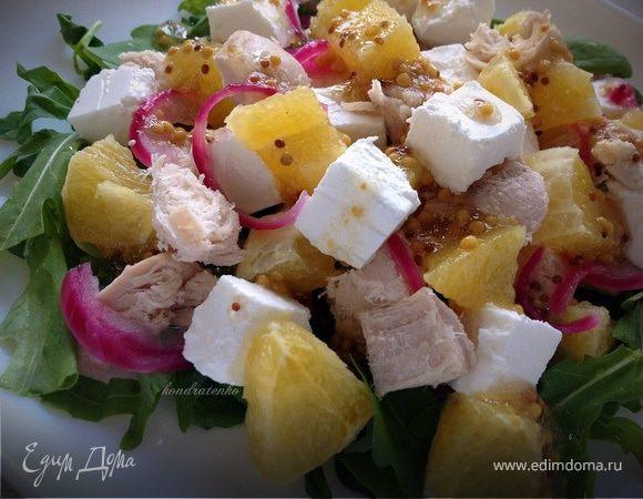 Салат с куриным филе, апельсином и сыром фета