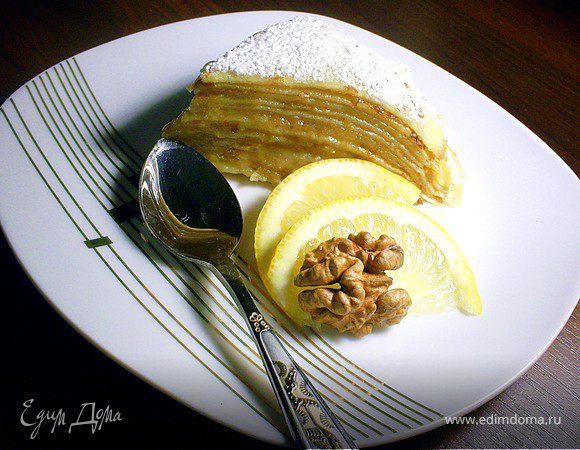 Блинный тортик с миндальным кремом