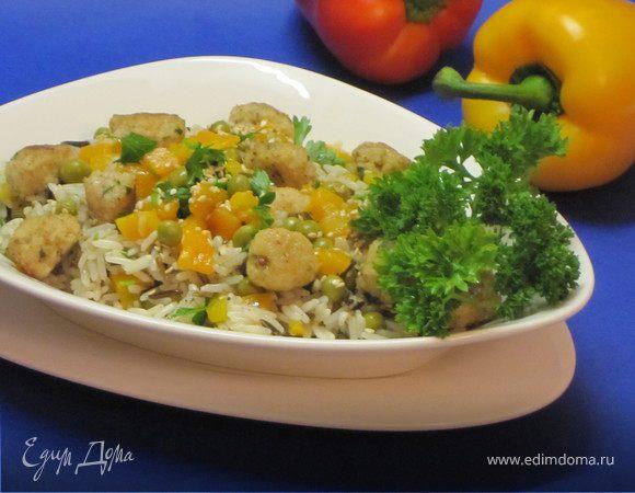 Рис с рыбными тефтелями