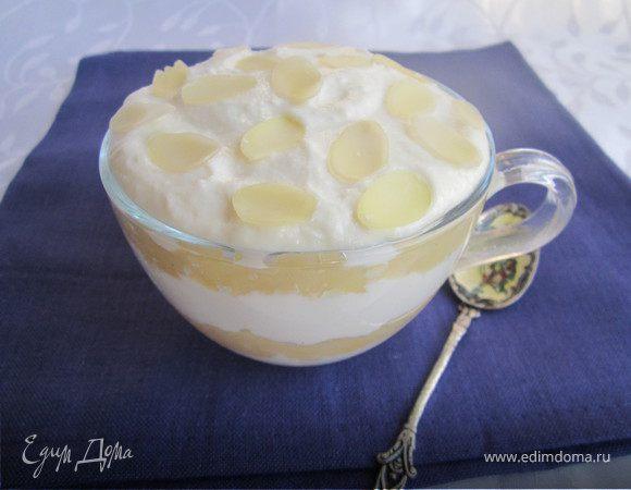 Творожный десерт с яблочным муссом
