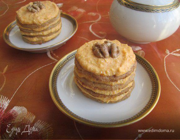Пирожное с тыквенно-творожным кремом