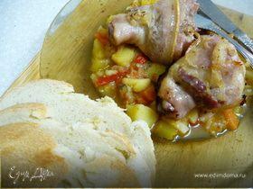 Фаршированная куриная голень с черносливом и качоттой