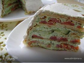 Блинный торт из семги