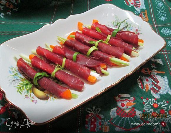 Рулеты из брезаолы с овощами
