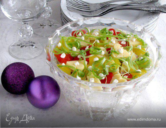 "Новогодний салат ""Конфетти и серпантин"""