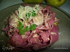 Розовые лазаньетти с курино-грушевым соусом