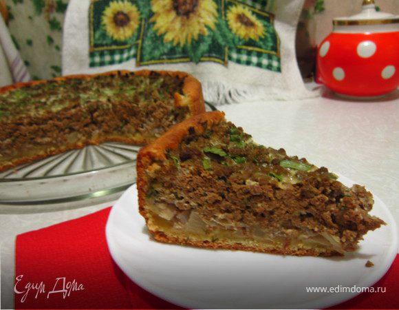 Открытый пирог с печенью