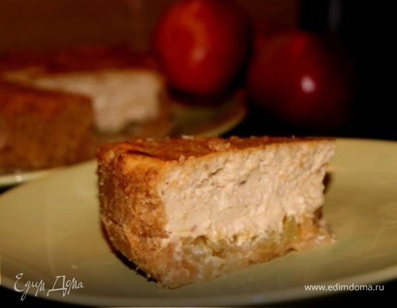Чизкейк с халвой и карамельными яблочками