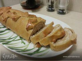 Мясо-капустный штрудель из кабачкового теста