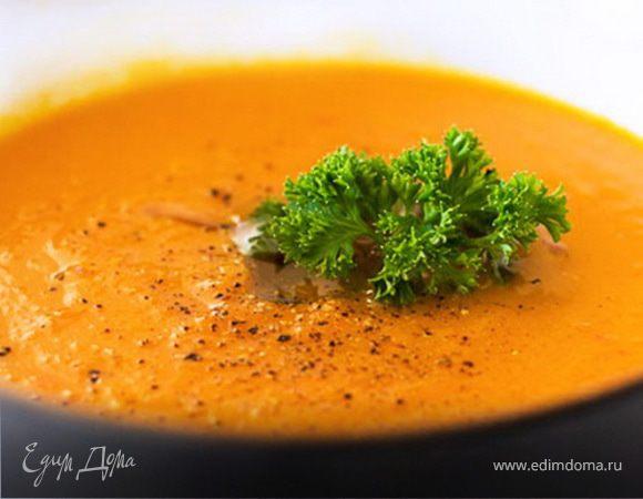 Кукурузный крем-суп с томатной заправкой