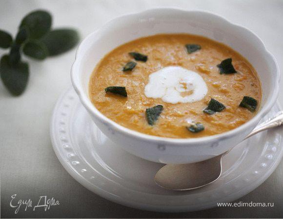 Суп из красной чечевицы с хрустящим шалфеем
