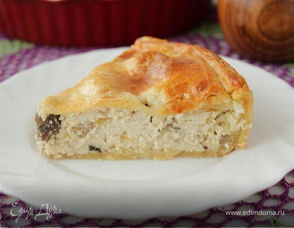 Пирог-суфле с курицей и грибами