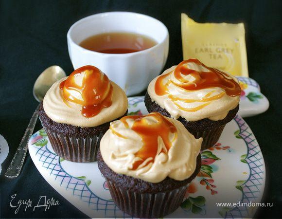 Шоколадные капкейки со вкусом чая Эрл Грей и соленой карамелью