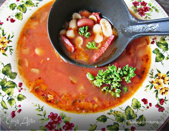 """Сытный итальянский суп c пастой """"мини"""""""