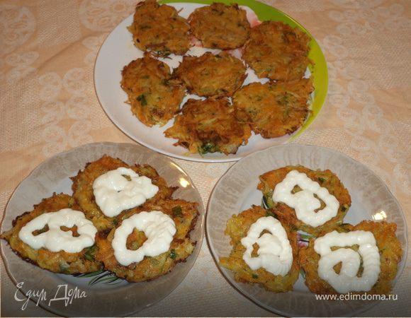 Румяные картофельно-тыквенные оладьи