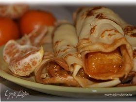 Блинчики с карамелизированными мандаринами