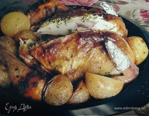 Курица, фаршированная крем-сыром и зеленью