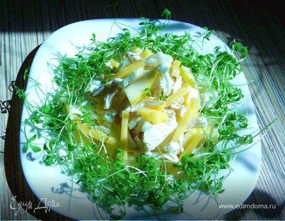 Сытный салатик с курицей и гаудой