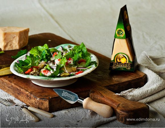 Картофельный салат с лососем и сыром Джюгас