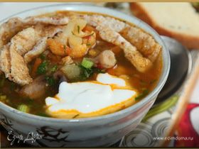 Овощной суп с белково-кунжутным омлетом
