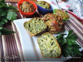 Закусочные кабачковые кексы с творогом, сыром и зеленью