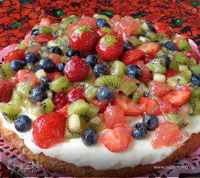 Фруктово-ягодный торт с нежным кремом из маскарпоне