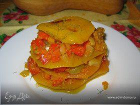 Тортик из тыквы с овощами и чесноком