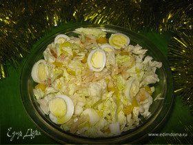 Салат из пекинской капусты, болгарского перца и перепелиных яиц